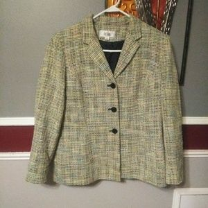 COPY - Le suit tweed women green blazer size 14